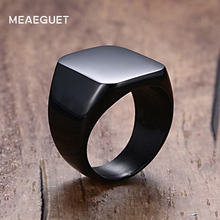 Meaeguet Solid Black Rock Punk Cool Men Ring 18MM Wide Unique Stainless Steel Square Party Ring USA Size 7-12