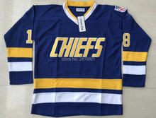 Ice Hockey Jersey Mad Brothers Hanson Charlestown Chiefs 18 Jeff Hanson Slap Shot Movie Jersey All stitched Hockey Jerseys