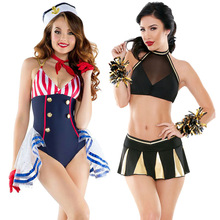 Sexy Nautical Costume Attached Collar Sailor Costumes Cosplay Military Costume Halloween Costume For Adult Women