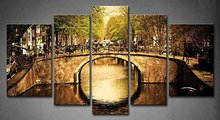BANMU 5 Panels Bridge Over Canal Old Town Tree River Vehicle Painting Print On Canvas Architecture Picture Modern Painting