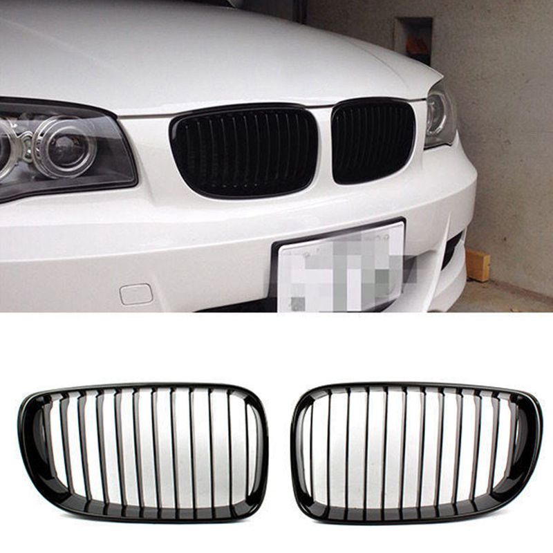 M1 M modifc. BMW E81 E82 E87 E88  Kidney Front Grill Dual Slat SET Black Gloss