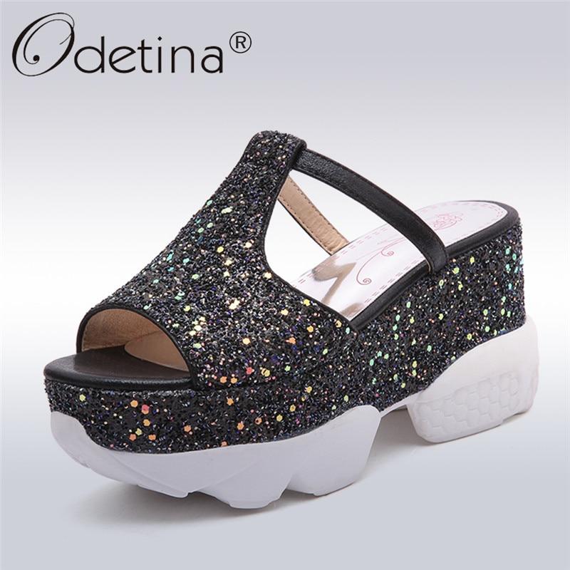 Odetina 2018 New Fashion Women Punps Mules Platform Wedges Peep Toe High Heel Leisure Bling Shoes Slip On Casual Big Size 31-43<br>