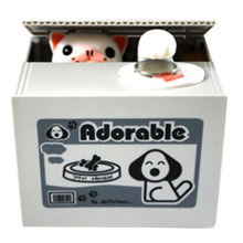 White Cat Panda Automatic Stealing Coin Cat Kitty Coins Penny Cents Piggy Bank Saving Box Money Box Kid Child christmas Gift(China)