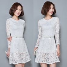 New Spring Women dress Lace Slim 2017 Nine Points In Sleeve Long Render Dresses White Pink 7210(China)