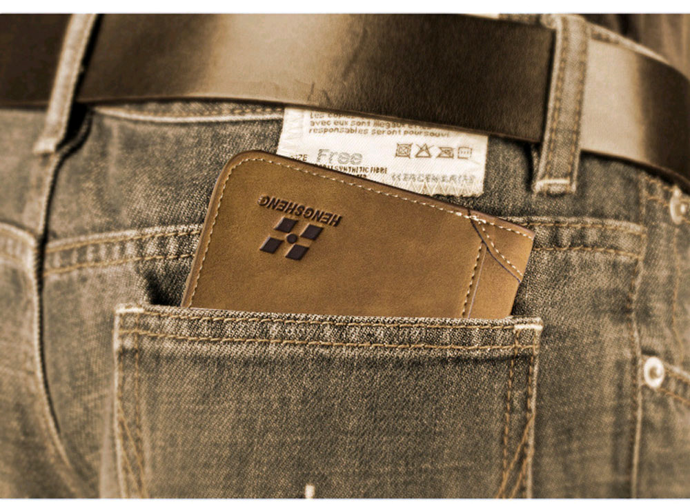 Men Solid Color Leer Embellishment Dull Polish Open Vertical Wallet