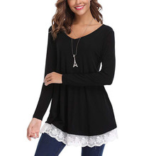 Women Blouse Lace V-Neck long Sleeve Patchwork shirt Long sleeve Solid  Casual Blouse Dressy 0df8137a0514
