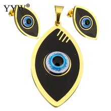 Resin Jewelry Sets pendant & earring Stainless Steel with Resin Evil Eye gold color plated enamel & colorful powder Sold By Set