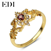 EDI Design 3mm Garnet Stone 925 Sterling Silver Ring 18K Gold Plated Women's Rings Fine Jewelry Vintage European Gifts To Lover