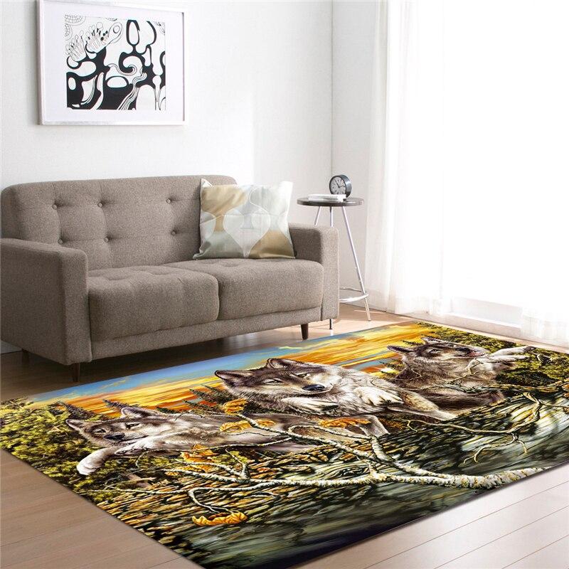 3D Wolf Printed Carpets For Living Room Bedding Room Hallway Large ...