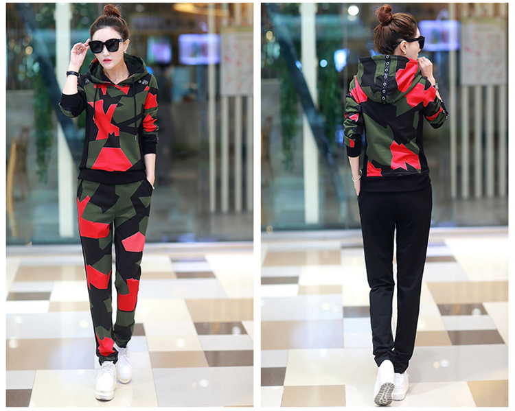 17 Women 2 Two Piece Set Camouflage Sporting Suit Femme Hoodies Sweatshirt Top And Pants Sweatsuit Set Casual Runway Tracksuit 4