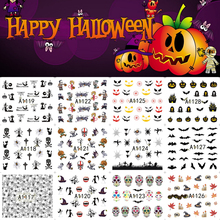 12 Sheets Halloween Nail Art Water Transfer Sticker Decals Pumpkin Spider Fancy Stickers Wrap Tips Decoration A1117-1128