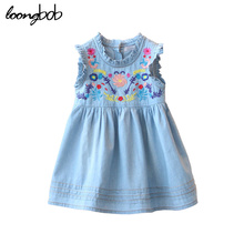2017 new top Children Dresses Girl's Sleeveless Denim Embroidery Ruffled baby Dress Kids Designer Jeans One Piece Wearing HOT!