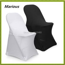 Wedding black & white spandex chair cover Marious folding chair cover cheap for sale free shipping(China)