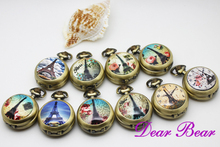 (6007) Vintage Victorian Style The Paris Eiffel Tower Quartz Pocket Watch Necklace with mirror inside, 12pcs/lot, free ship(China)