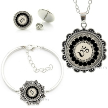 Vintage Yoga Buddhist om symbol cheap fashion indian turkish dubai jewellery sets necklace earrings bracelets jewelry set HT030