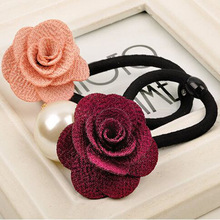 Fashion Pearl Flower Sinews of South Korea Rose Small Adorn Article Han Edition Head Rope Hair Circle Rope Wholesale August 23