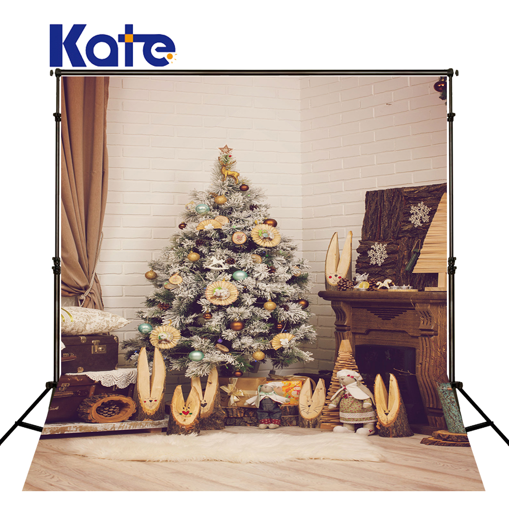 KATE Christmas Backdrop Family Indoor Background Christmas Tree Backdrops Newborn Backdrops Photo Props Rug and Wood Floor Photo<br>
