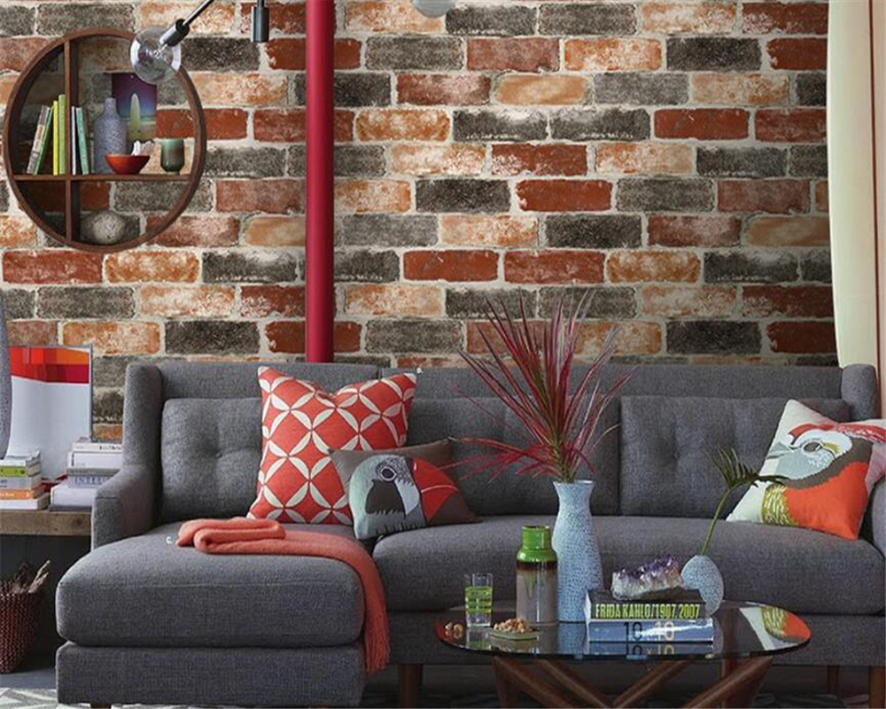 Beibehang European and American style wallpaper bricks non - woven wallpaper living room television wall 3d wallpaper roll mural<br>