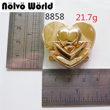 Nolvo World Middle sweet heart shape fashion lock gold bags metal functional lock for suitcase wallets DIY workshop hardware(China)