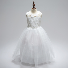 Retail Flower Neck Embroidery Girls Summer Wedding Dress Cute Rhinestone Ankle-Length Evening Party Dress Communion Dress LP-63