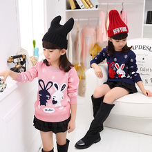 Kids Girls Sweaters 2017 Spring Autumn Casual Cotton Rabbit Pattern Knitting Pullover Sweaters Children O-neck Princess Clothing(China)