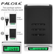 PALO 4 Slots LCD Display Intelligent Quick Battery Charger for AA AAA NiCd NiMh Rechargeable Battery Support Mixed Charging(China)