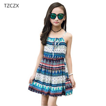 TZCZX-1515 Summer Children Girls Dress Kids Girls National Style Beach Summer Girls Clothing for 3-12Y Girls Clothes(China)