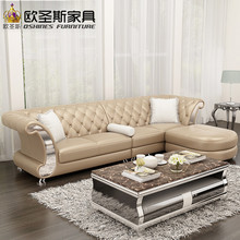 l shaped post modern italy genuine real leather sectional latest corner furniture living room sofa set designs F52(China)