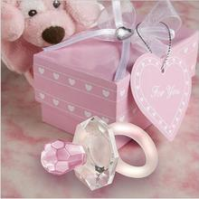 Free Shipping 10 sets Crystal Pacifier Baby Shower favor party christmas gifts girl baby gift present baby shower souvenir(China)