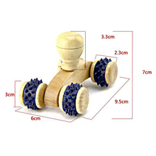 4 Wheels Car Roller Solid Wooden Full-body Relaxing Hand Massage Tools Reflexology Face Hand Foot Back Body Therapy