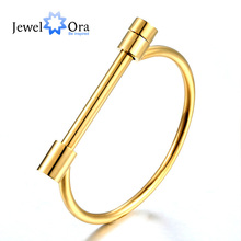 Unisex Shackle Screw Cuff Bangle Rock Punk Style Gold Color 316L Stainless Steel Women Bracelet Unique Gift (JewelOra BA101556)(China)