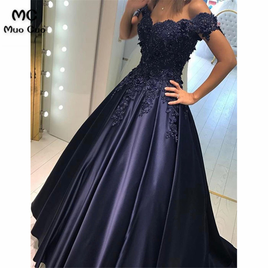 Lace Flower Off The Shoulder Satin Prom Dresses Ball Gowns3