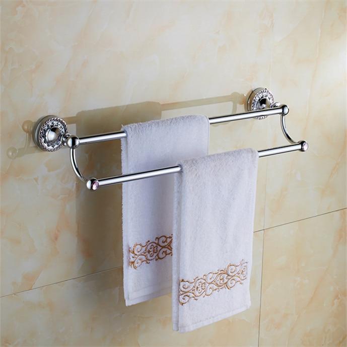 Bathroom accessories chrome brass 60cm Double towel bars bathroom towel rack wall mounted antique bathroom towel bars shelf<br><br>Aliexpress