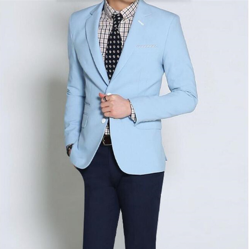 High quality light blue wedding custom men's leisure suit jacket formal occasions best man suit fashion two grain of buttons