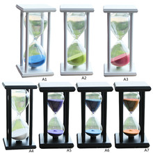 New Design 30 Minutes Wood Sand Fashion Glass Hourglass Timer Clock Home Office Decor Gift VBU39 T50(China)