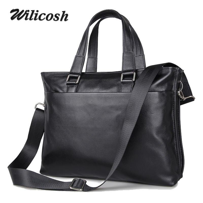 Men Handbags 100% Genuine Leather Men Shoulder Bags Crossbody Fashion Designer Messenger Bags Briefcase  laptop Male Bag WL190<br><br>Aliexpress