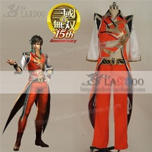 Game Movie Dynasty Warriors 6 Lu Xun Hallowmas Cosplay Costume Orange Fighting Full Set Free Shipping