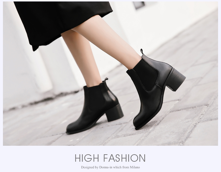 Donna-in genuine calf leather winter boots classic Chelsea boots round toe thick heel natural leather women boots (20)