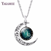 Fashion Silver Plated Crescent Pendant Necklaces Jewelry Zodiac Statement Necklaces For Women Cabochon Glass Necklaces Collares(China)