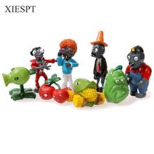 XIESPHot Plants vs Zombies 8pcs/lot pvc anime figure / toys for children / shatterproof doll / game animation PVZ ornaments gift