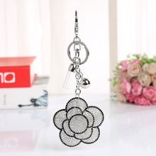 White AB Rose Flowers Crystal Keyring Keychain Fashion Metal HandBag Pendant Purse Bag Buckle key chains holder Accessories Gift(China)