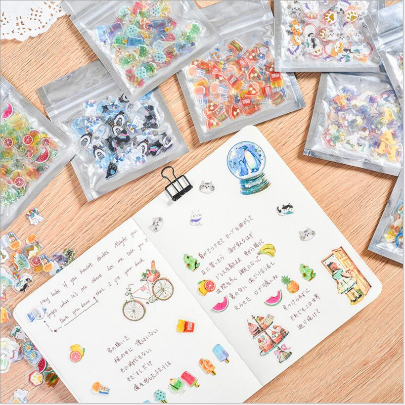 Paper Creative Fashion Hand Diary Stickers Bronzing Sticker Package 48Pcs