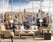 beibehang Wallpaper 3D Stereo Large Murals Modern False windows living sofa bed bedroom New York flash silver cloth wallpaper