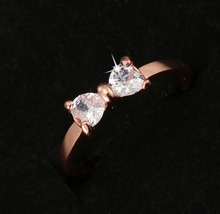 G27 CZ Crystal rings Gold Color finger Bow ring wedding engagement Zircon Crystal Rings Jewelry wholesale