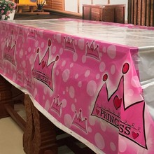 ZLDECOR Lovely 108cm disposable Birthday tablecloth Cartoon Pink Princess kids happy birthday party plastic tablecover supplies