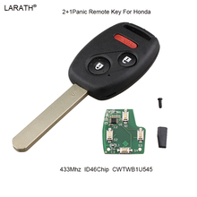 LARATH 3pcs 433Mhz Complete Remote Key For Honda Pilot 2005-2008 Keyless Entry Remote Car Key Combo Clicker CWTWB1U545 ID46 Chip(China)