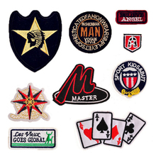 good quality flat embroidered patches & badges on clothes  iron on decorative appliques handmade patch logo can be customization