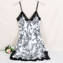 Ladies Sexy Silk Satin Night Dress Sleeveless V-neck Nightgown Lace Sleepwear For Women(China)
