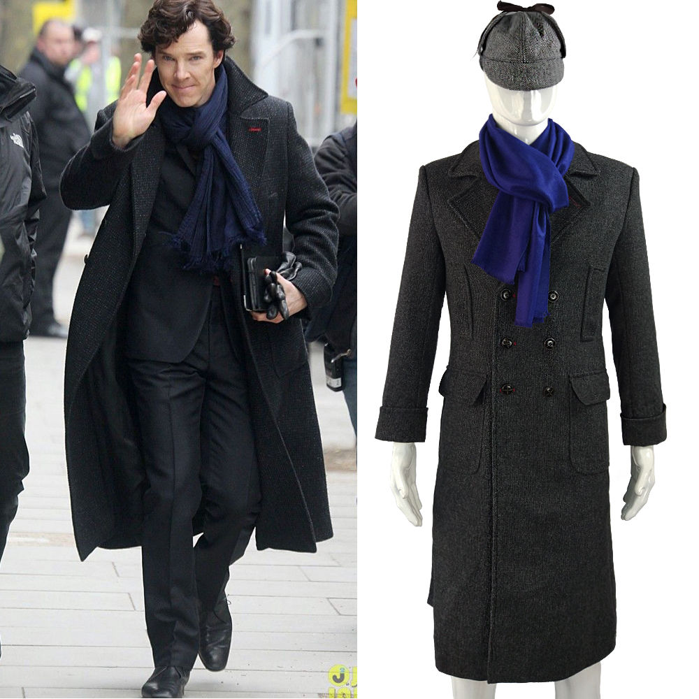 Cosplay Sherlock Holmes Cape Coat Costume Wool Long Jacket Outfit With Scarf New1