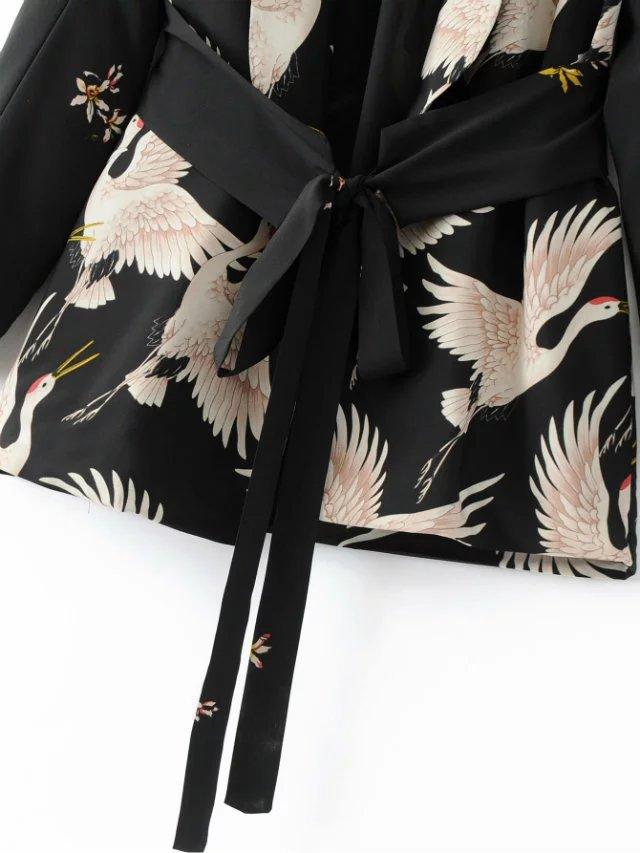 Women Spring Summer Birds Print Kimono Style Long Sleeve Coat Set Wide Leg Pants (Us 10-16)